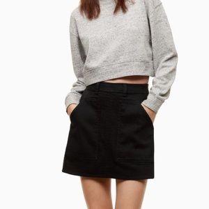 ARITZIA WILFRED FREE Penske Denim Mini Skirt Black Size 2 Side Zipper Closure